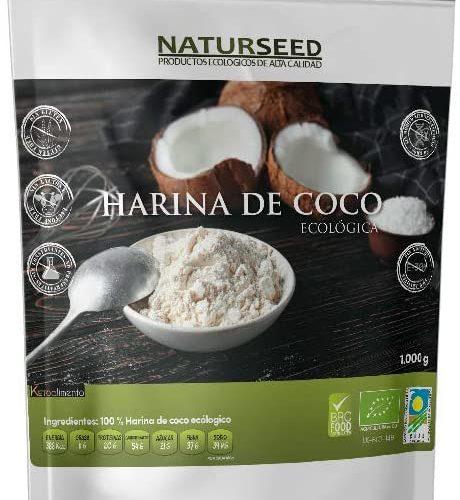 NATURSEED - Harina De Coco Ecológica Bio - Organica - Sin Refinar - Sin Blanquear - Sin Gluten (1 KG)